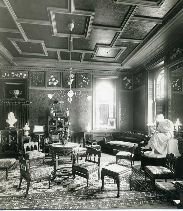 "Browning Room at Wellesley College: ""included a complete collection of editions of the works of Robert and Elizabeth Barrett Browning, donated by George Herbert Palmer in 1911. That collection of books, as well as many other items in the room, were saved from destruction during the 1914 fire."""