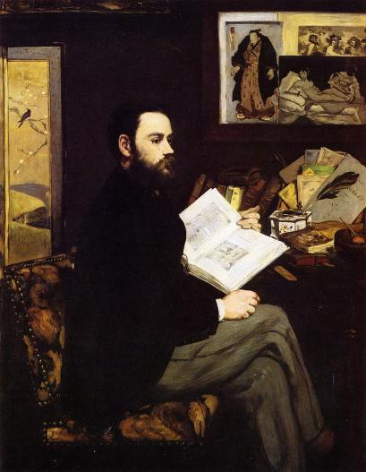 An example of a portrait by Édouard Manet, this of Emile Zola, painted in 1868.