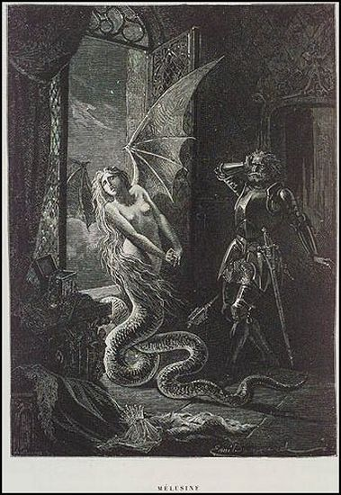 """Melusine,"" illustration from ""History of Magic' by Émile Bayard, 1870"