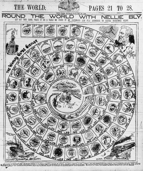 """""""Round the world with Nellie Bly,"""" a board game published in The World."""