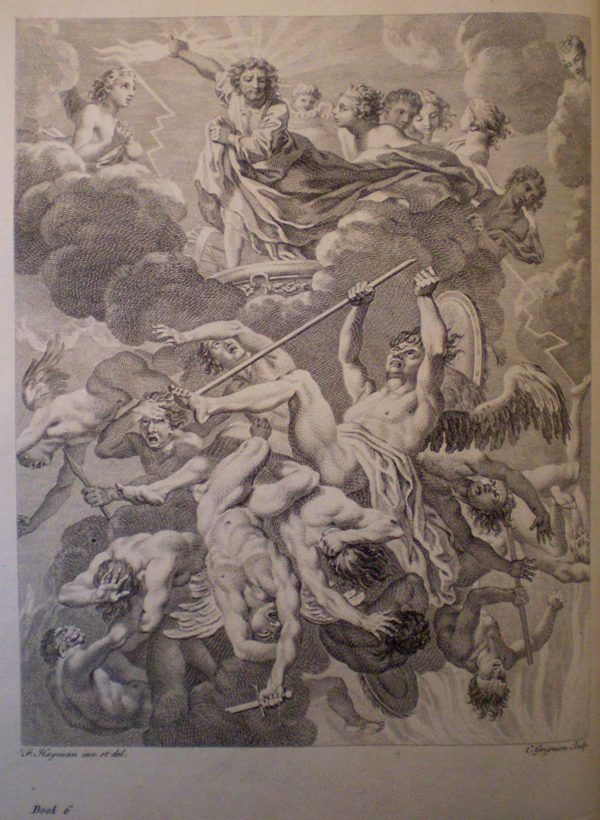 Charles Grignion (engraver) after Francis Hayman, illustration to Book VI of Paradise Lost (1749), engraving.© Christ's College Old Library